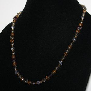 """Beautiful orange and olive glass gold necklace 21"""""""